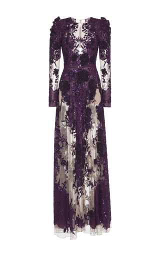 Medium zuhair murad purple floral embroidered crepe georgette gown