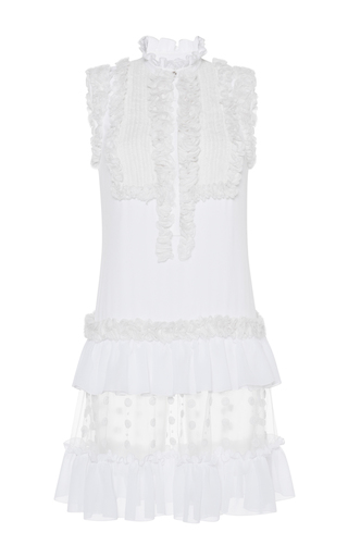 Medium zuhair murad white ruffled crepe de chine layered dress