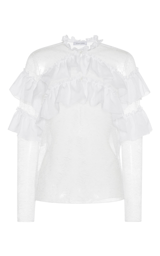 Medium zuhair murad white chiffon ruffled lace blouse