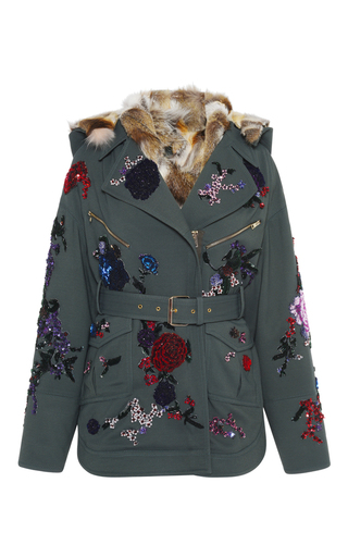 Medium zuhair murad green embroidered wool parka with fur lining