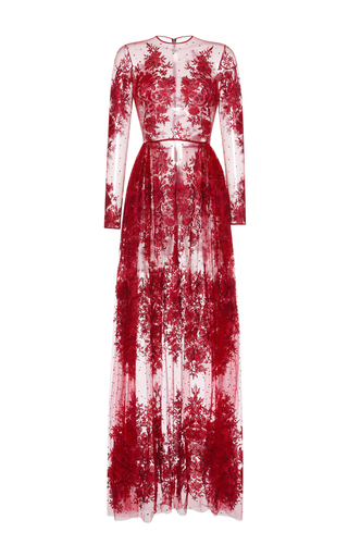 Medium zuhair murad red floral embroidered tulle gown
