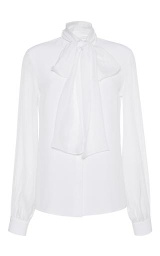 Medium zuhair murad white crepe de chine tie neck blouse