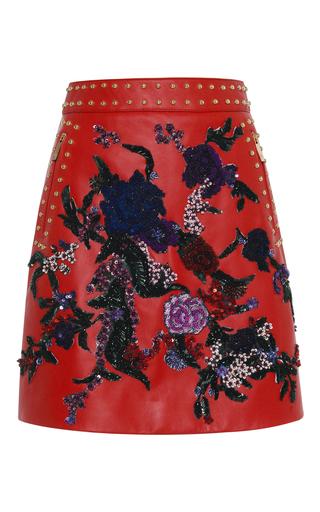 Medium zuhair murad red embroidered leather flare skirt