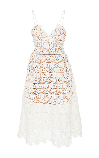 Medium self portrait white azalea lace sweetheart dress