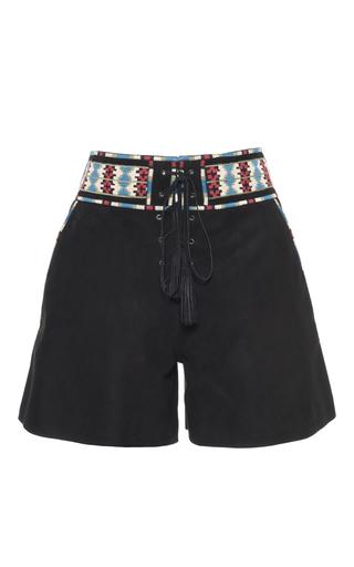 Medium talitha black black tie front suede shorts