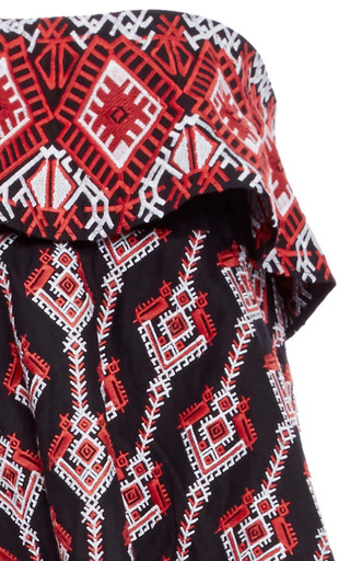 Margi Tiered Embroidered Dress by CAROLINE CONSTAS Now Available on Moda Operandi