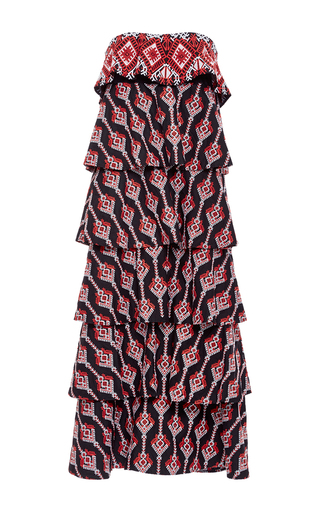 Medium caroline constas multi margi tiered embroidered dress