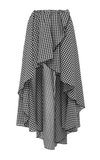 Medium caroline constas plaid adelle asymmetrical wrap skirt
