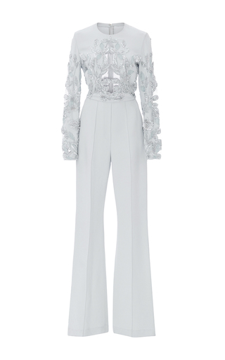 Medium elie saab light blue lace embroidered jumpsuit