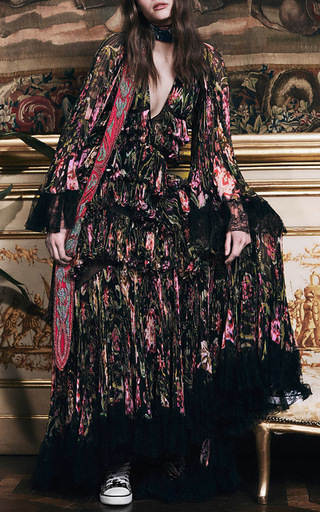 Medium roberto cavalli black floral printed silk deep v neck long dress with lace trim