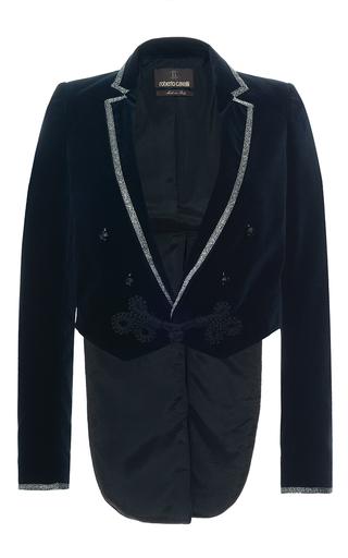 Medium roberto cavalli royal blue velvet crop jacket  2