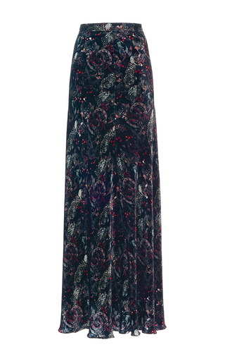 Medium roberto cavalli pink jaquar snake printed velvet long skirt