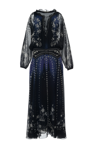 Medium roberto cavalli navy star printed silk georgette long dress