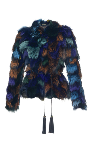 Medium roberto cavalli blue multicolored fox fur cropped caban
