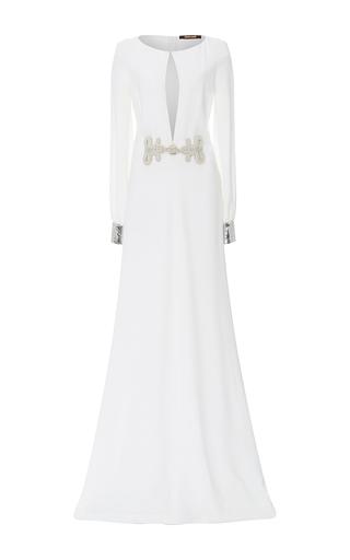Medium roberto cavalli white beaded detail long sleeved gown