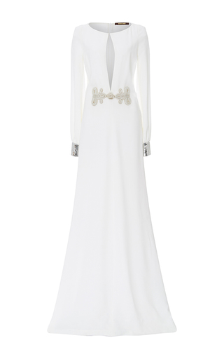 Medium roberto cavalli white beaded detail long sleeved gown