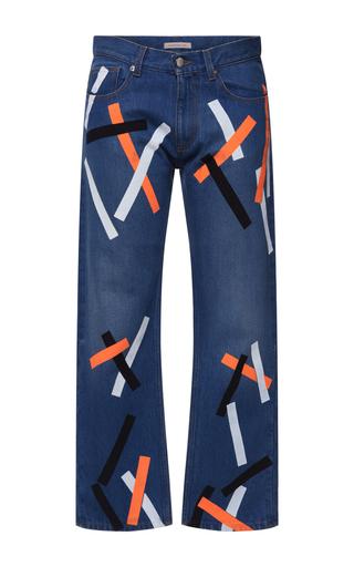Medium christopher kane blue painted tape boyfriend jeans