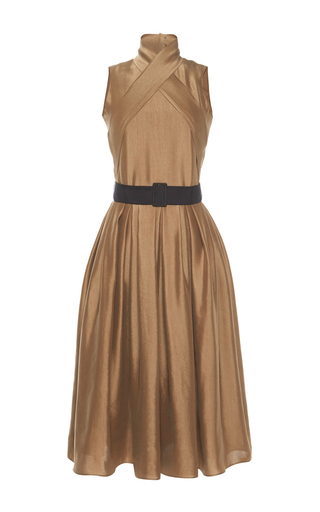 Medium martin grant gold wrap dress with pleated skirt