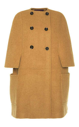 Medium martin grant tan long double breasted wool cape