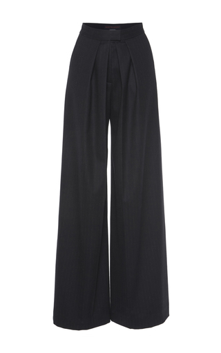 Medium martin grant black black two pleat wool trouser