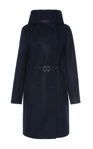 Medium martin grant navy cashmere tweed hooded coat