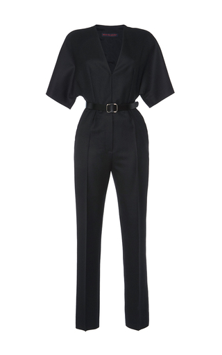 Medium martin grant black belted short sleeve jumpsuit