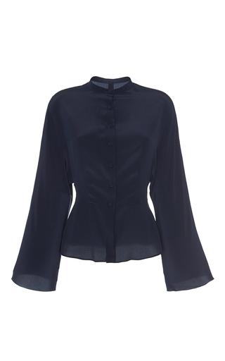 Medium martin grant navy silk bat wing button up shirt