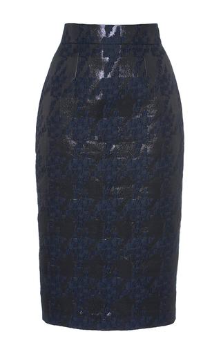 Medium martin grant navy brocade houndstooth pencil skirt