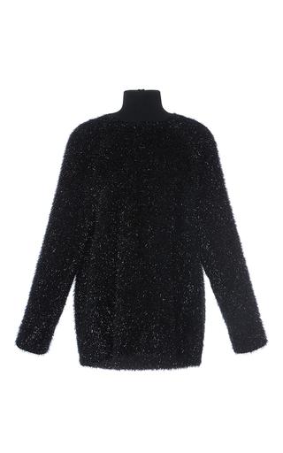 Medium martin grant black oversized lurex turtleneck sweater