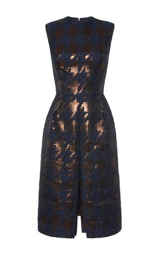 Medium martin grant navy brocade houndstooth pleat front dress