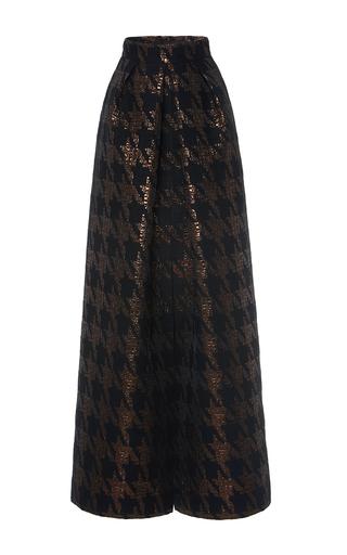 Medium martin grant black brocade houndstooth long pleat skirt
