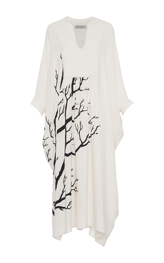 Medium veronique branquinho ivory printed silk pleated dress