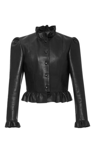Medium j w anderson black ruffled leather jacket