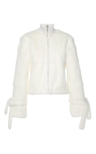 Medium j w anderson white fur track jacket with ties