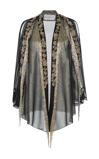 Medium alberta ferretti metallic lame fringe evening jacket