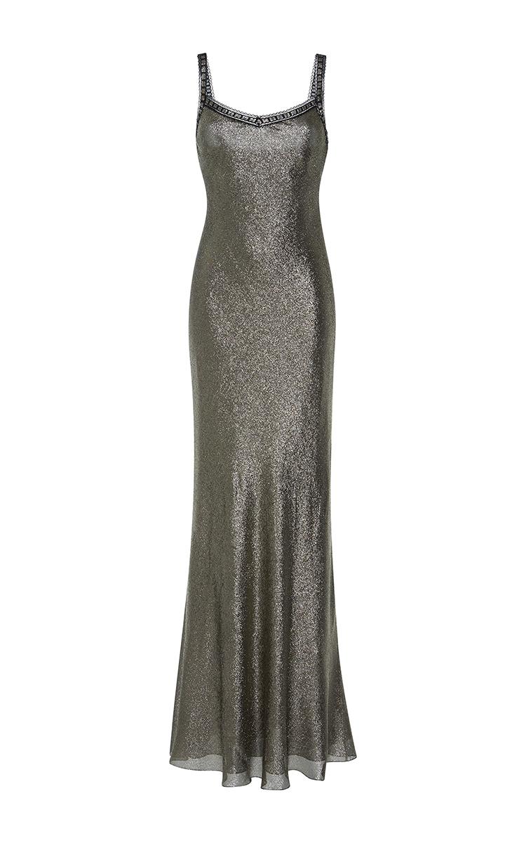 000a1e5b9209 Silk Lame Slip Dress by Alberta Ferretti | Moda Operandi