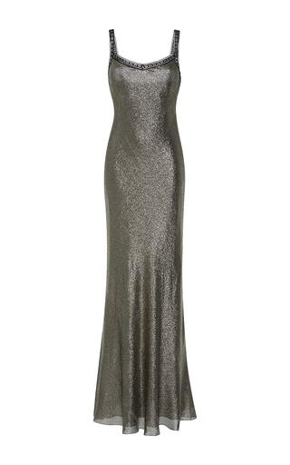 Medium alberta ferretti metallic silk lame slip dress