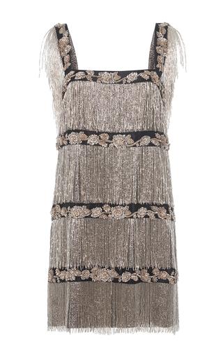 Medium alberta ferretti metallic silk lame fringe dress