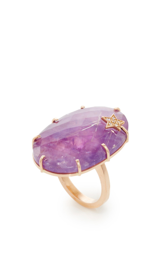 Medium andrea fohrman purple amethyst and rutilated quartz star oval ring