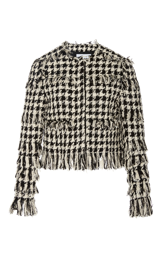 Medium msgm black white houndstooth crop jacket