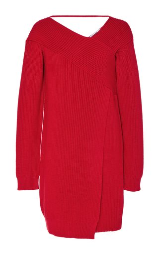 Medium msgm red off the shoulder sweater dress