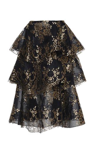 Medium huishan zhang black fermina layered lace skirt