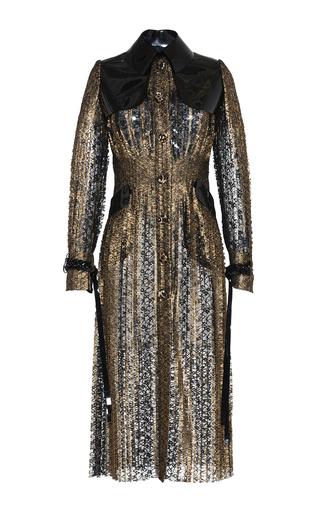 Medium huishan zhang gold sylvia pleated lace trench coat