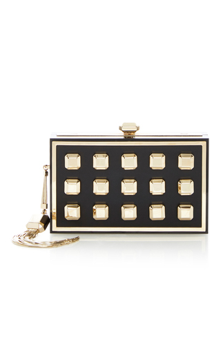 Medium elie saab black black and gold brass clutch