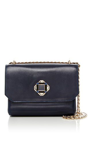 Medium elie saab navy leather mini shoulder bag