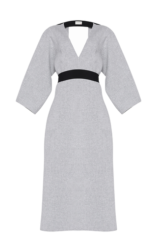 Medium maison rabih kayrouz light grey wool open back midi dress