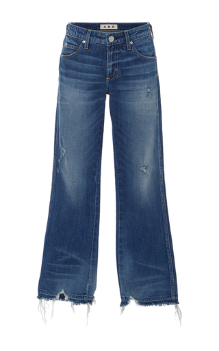 Jane Mid Rise Destroyed Hem Bootcut Jeans by AMO Now Available on Moda Operandi