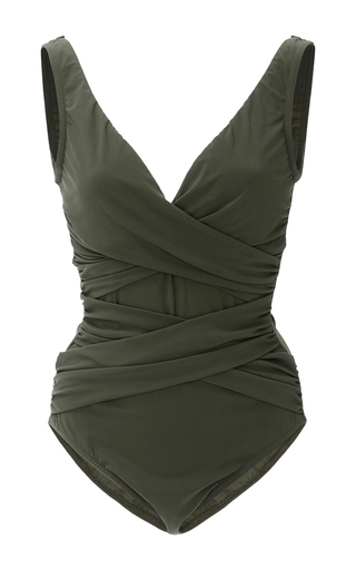 Medium karla colletto dark green basic surplice wrapped one piece swimsuit