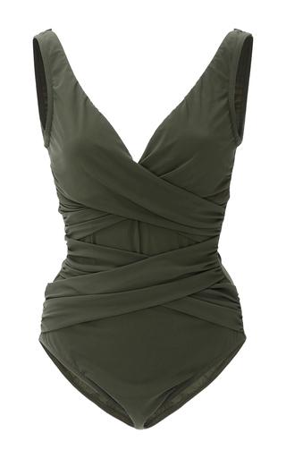 Medium karla colletto dark green basic surplice wrapped one piece swimsuit