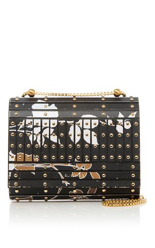 Medium elie saab black print studded clutch bag